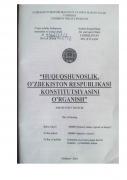 """""""Huquqshunoslik. O'zbekiston Respublikasi Konstitutsiya..."""