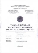 Ust rasmi  Tijorat banklari faoliyatini tartibga solish va nazorat qilish