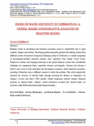 Issues of bank solvency in Uzbekistan: a model-based compara...