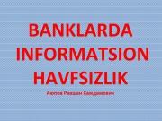 Banklarda informatsion havfsizlik
